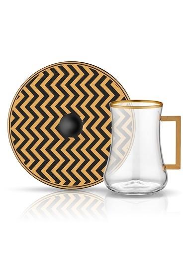 Dervish Kulplu Çay St 6'lı Zigzag Siyah Mat Altın-Koleksiyon